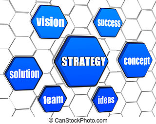 strategy and business concept words in blue hexagons