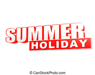 summer holiday orange white banner - letters and block
