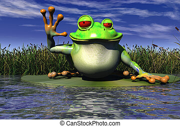 Cartoon Frog Waving - Cartoon Illustration Of A Frog Waving