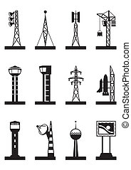 Industrial towers and poles - vector illustration