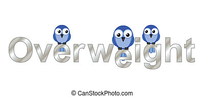 Overweight text and comical fat bird isolated on white...