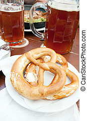 Bretzel, typical german brad with beer