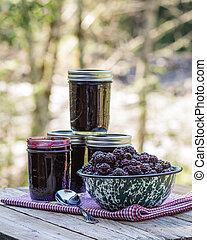 Homemade marionberry jam or preserves - Jars of homemade...