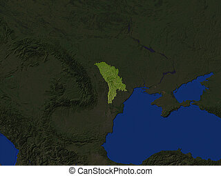 Moldova  - Computer Render Of Moldova Highlighted