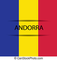 Andorra text on special background allusive to the flag