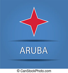 Aruba text on special background allusive to the flag