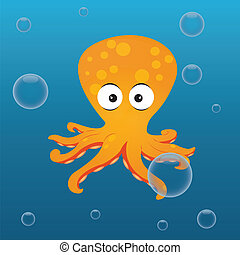 octopus - cute octopus on abstract sea background