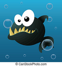 piranha - cute piranha on abstract sea background