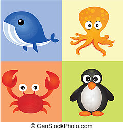 water animals - different water animals on squares with...