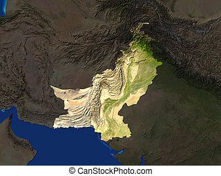 Pakistan - Computer Render Of Pakistan Highlighted