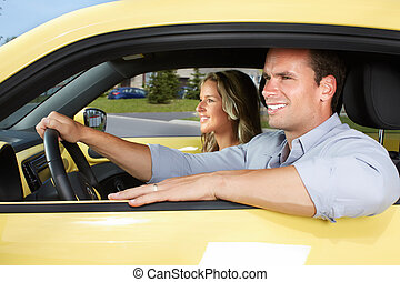 Happy young man car driver. - Happy young man driver in a...