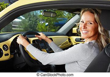 mujer, coche, conductor