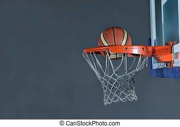 basketball ball and net on grey background - Basketball...