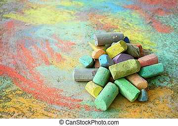 Pile of Sidewalk Chalk - a collection of colorful sidewalk...