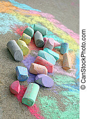 Chalk on Sidewalk - a collection of used, coloful sidewalk...