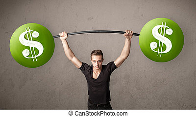 muscular man lifting green dollar sign weights - Strong...