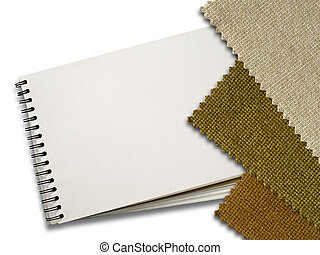 Brown Fabric sample and Blank White Page of Note Book