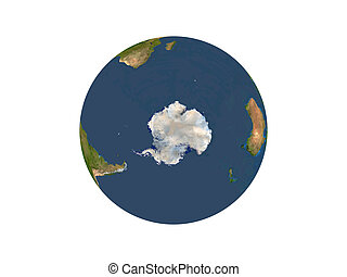 Antarctica - Computer Render Of Earth On White Background...