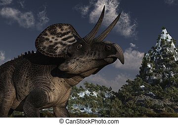 Zuniceratops Dinosaur - Computer Generated Image Of A...