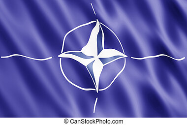 Nato Flag Blowing In Wind