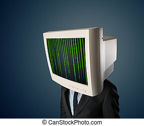 Cyber business human with a monitor screen and computer code on the display
