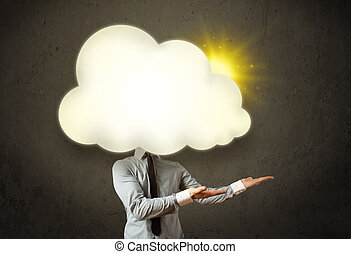Young business man in shirt and tie with a sunny cloud head