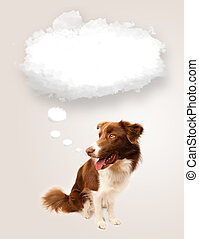 Cute dog with empty cloud bubble - Cute brown and white...