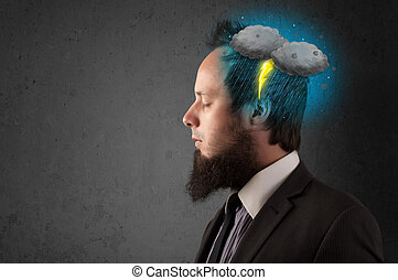 Man with thunderstorm lightning head