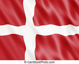 Denmark Flag Blowing In Wind