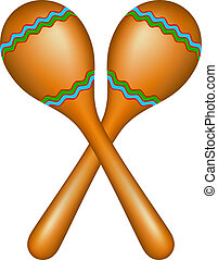Pair of maracas in brown design isolated on white background