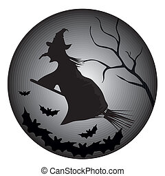 witch and bats - a flying witch in a black broom with some...