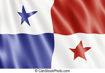 Panama Flag Blowing in Wind