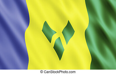 St Vincent & the Grenadines Flag Blowing in Wind