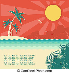 Retro nature tropical seascape background with island and palms for design