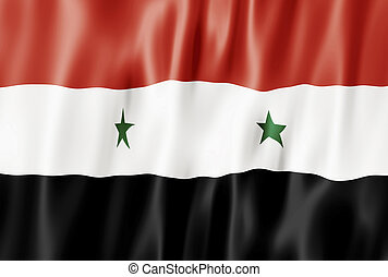 Flag Of The Syrian Arab Republic, Syria Blowing in Wind