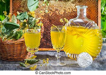 Homemade liqueur made of honey and lime
