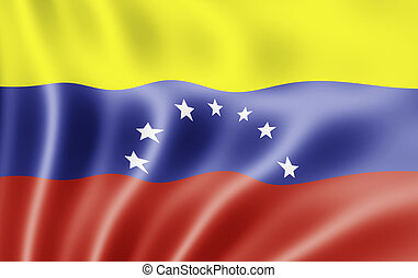 Bolivian Republic of Venezuela Flag Blowing in Wind