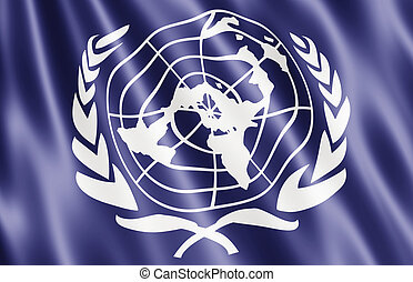Flag Of The United Nations Blowing in Wind