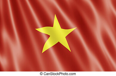 Flag of The Socialist Republic of Vietnam Blowing in Wind