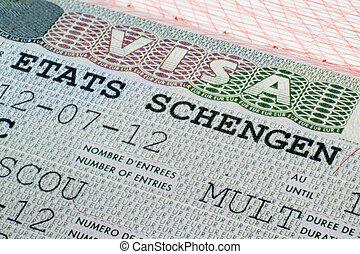 Schengen visa in passport - Close up Schengen visa in the...