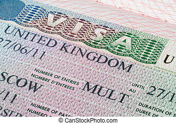 United Kingdom visa in passport - Close up United Kingdom...