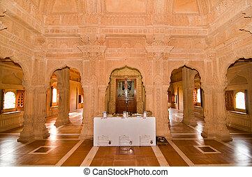 Amar Sagar Jain temple - Interior of the famous Amarsagar...