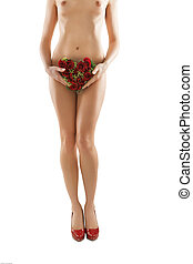 beautiful long women legs with red roses heart shape