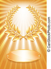 Gold award laurel wreath and label