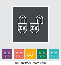 Locking doors Single icon Vector illustration