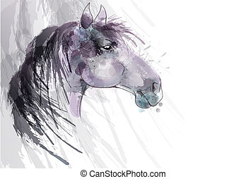 Horse head watercolor painting