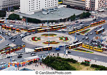 Rush hour traffic on the Dmowskiego roundabout in Warsaw
