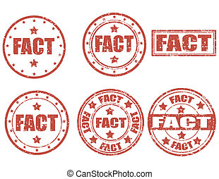 Fact-stamps - Set of grunge rubber stamp with word Fact...