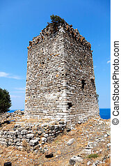 Byzantine era tower at Palaiopolis area in Samothraki island of Greece. The medieval fortification, which embraces an area of ca. 1800 sq.m, was build by the Genoese Gattilusi between 1431 and 1433.
