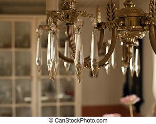hermoso, cristal, araña de luces, clásico